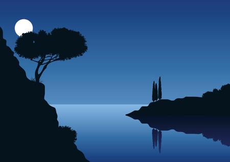 paesaggio costiero del Mediterraneo con la luna piena e il mare