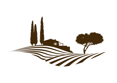 rural Mediterranean landscape with fields, house and cypresses