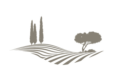 rural Mediterranean landscape with plowed fields, cypresses and pine tree