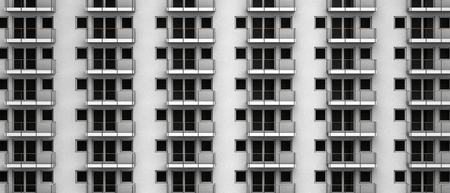 fictitious: Fictitious high rise facade with anonymous apartments with balcony
