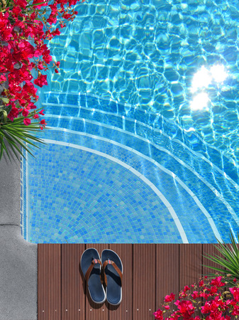 FICTITIOUS composite image: vacation time by the pool with blooming flowers; this scene doent exist in reality Zdjęcie Seryjne
