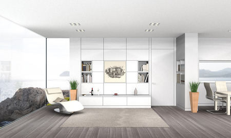 FICTITIOUS 3D rendering of a modern seaside living and dining room with my own drawing, fictitious book covers and wine label Stock Photo
