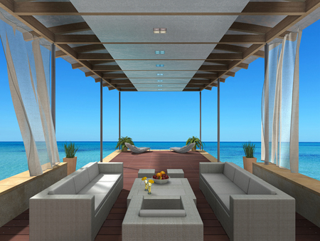 FICTITIOUS 3D rendering showing a summer vacation image with a lounge by the sea Stock Photo