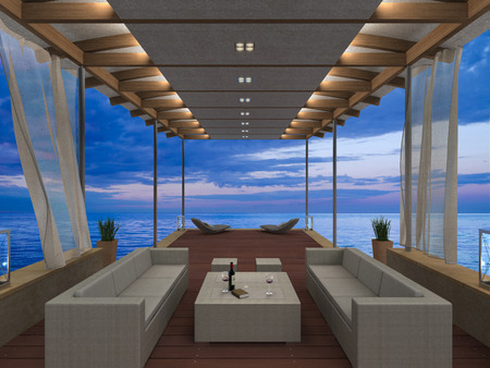 jetty: FICTITIOUS 3D rendering showing a seaside lounge overlooking the sea during sunset