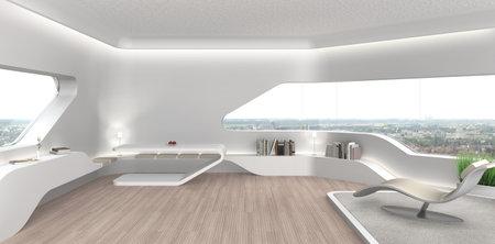 FICTIEF 3D-weergave van een futuristische moderne woonkamer interieur met fictieve boekomslagen Redactioneel