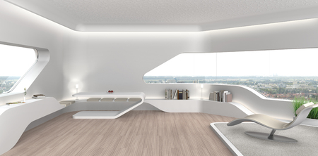 FICTITIOUS 3D rendering of a futuristic modern living room interior with fictitious book covers