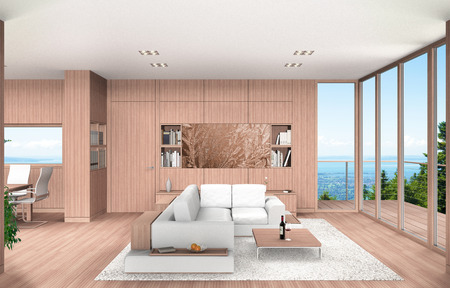 FICTITIOUS 3D rendering showing a modern living room and dining room with wood paneling overlooking a beech mountain landscape with lake