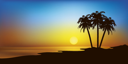 lonesome: vector landscape illustration with beach and palm trees in sunset Illustration