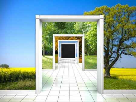 stage door: FICTITIOUS 3D rendering: interior with walkthrough the four seasons spring, summer, autumn and winter