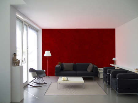 wall paint: modern living room with maroon paint wall and copyspace for your own images