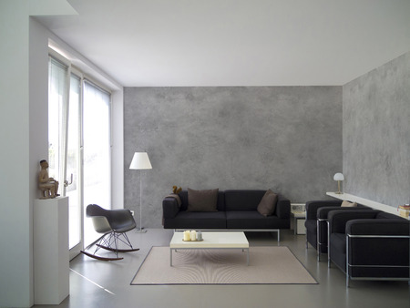 modern living room with concrete wall and copyspace for your own images