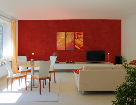 modern living and dining room with red wall to present images