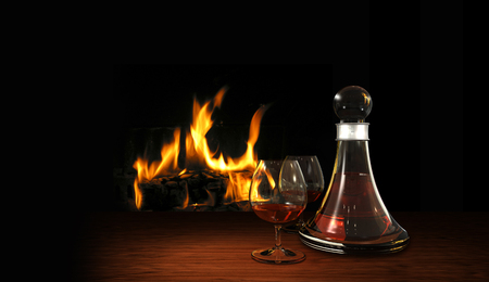 a place of life: cozy still life with aperitif or digestif, carafe and fire place Stock Photo