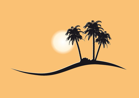 islet: vacations and travel vector pictogram with palm trees and sun