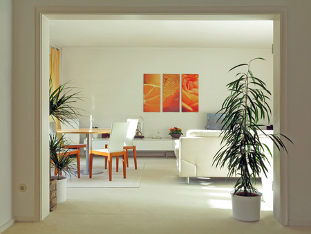 velours: double door way to a modern living room in pastel colors