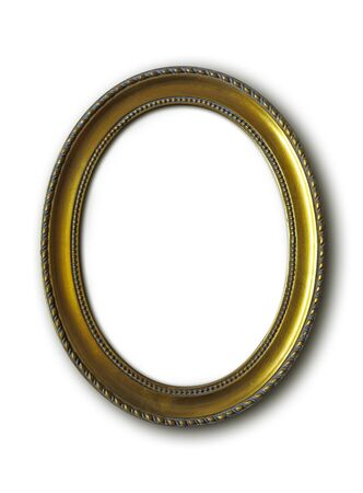 golden oval vintage frame isolated on white background with clipping paths