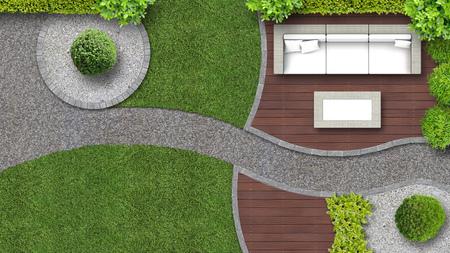 Tuinontwerp in bovenaanzicht inclusief tuinmeubilair Stockfoto