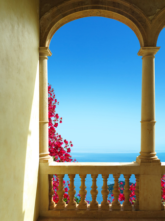 bougainvillea: ancient patio with a view to the mediterranean sea