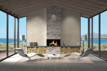 fictitious: FICTITIOUS 3D rendering showing a modern seaside living room with fireplace and view to the sea