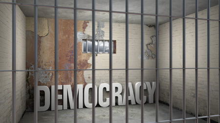 democracy in prison - symbolic 3D rendering concerning totalitarian systems 版權商用圖片