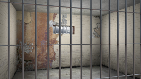 sordid: FICTITIOUS grungy sordid empty prison cell behind bars - 3D rendering Stock Photo