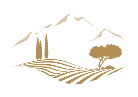 Rural vector landscape with plowed field, mountains, cypress and pine tree Illustration