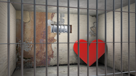 symbolical: heart in prison - symbolical 3d rendering for being crossed in love