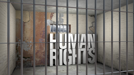 human rights behind bars - symbolic 3D rendering concerning totalitarian systems