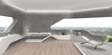 FICTITIOUS 3D rendering of a futuristic modern living room interior with fair faced concrete wall