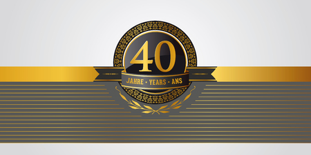 golden festive vector pictogram for 40th anniversary, jubilee or birthday