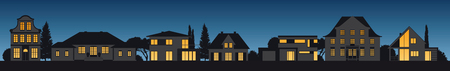 different old and modern vector house facades illuminated by night Illustration