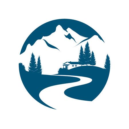 wektor piktogram z alpejskim krajobrazem, potokiem lub drogą, domkiem i jodłami