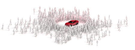 cluster of people surrounding and gazing at a red sports car - 3d rendering with copy space Stock Photo