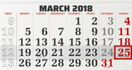 vector calendar of march 2018 with moving red frame Ilustração