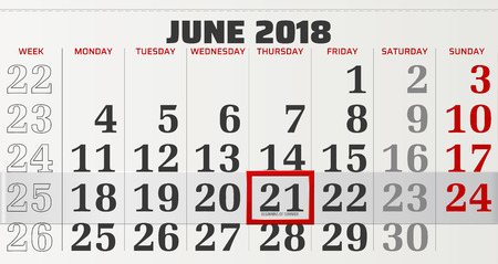 vector calendar of june 2018 with slidable red frame and beginning of summer in focus Ilustração