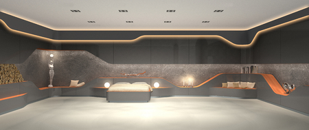 FICTITIOUS 3D rendering of modern luxury futuristic modern interior design of bedroom 스톡 콘텐츠