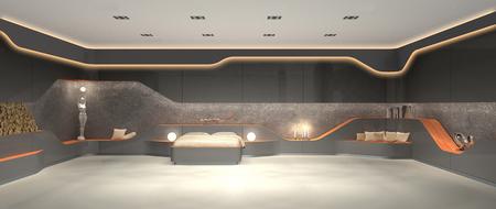 FICTITIOUS 3D rendering of modern luxury futuristic modern interior design of bedroom 免版税图像