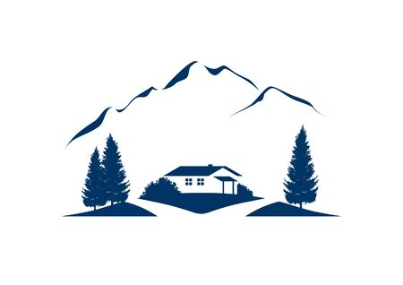 rural mountain landscape vector illustration with cottage and firs
