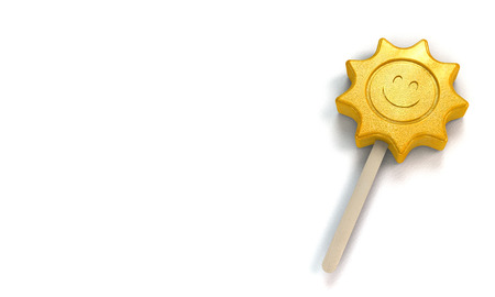 Ice lolly in shape of a loughing sun as a symbol for the summer on white background with copy space - 3d rendering