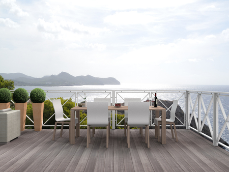 FICTITIOUS vacation scenery with beautiful terrace, patio or balcony with a view to the mediterranean sea - 3D rendering