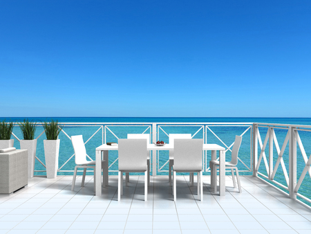 FICTITIOUS seaside bright white terrace with turquoise water and clear water - 3D rendering