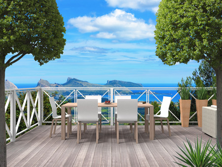 Terrace of a holiday home in the maountains with a view to the coast and the mediterranean sea - 3D rendering Stock fotó
