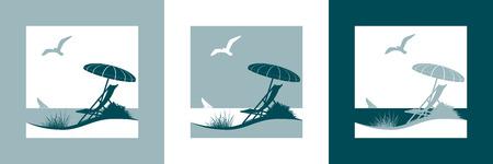Summer vacation vector symbol with sunshade, deckchair, seagull, sailing boat, beach and the sea Illusztráció