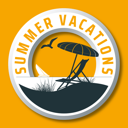 summer vacations vector logo with sunshade, deck chair, sailing boat, beach, seagull and the sea