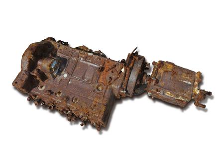 old rusty weathered engine isolated on white background Stock fotó