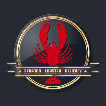 noble glossy golden delicacy or seafood vector lobster logo Иллюстрация