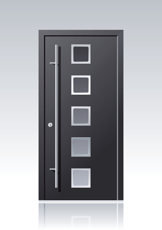 modern anthracite vector front door with glass windows and steel applications