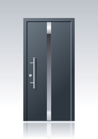 trendy dark grey vector front door with glass windows and steel applications