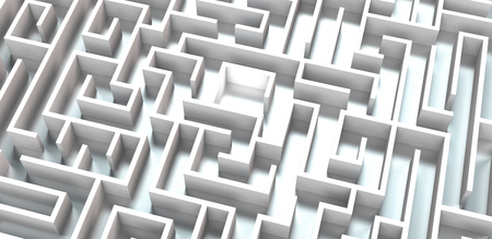 conceptual 3d rendering of a white maze on metallic background Stock fotó