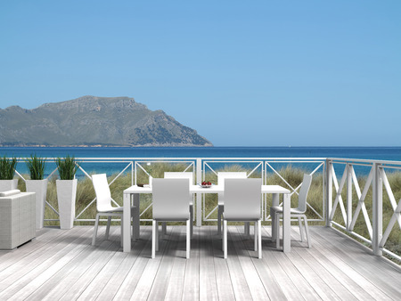 FICTITIOUS Summer vacations on a terrace in the dunes with a view to the sea and an island
